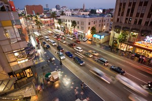 A picture of Hollywood boulevard at dusk as sen from Kodak theater.