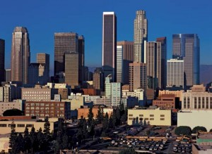A panorama of the city center of Los Angeles.