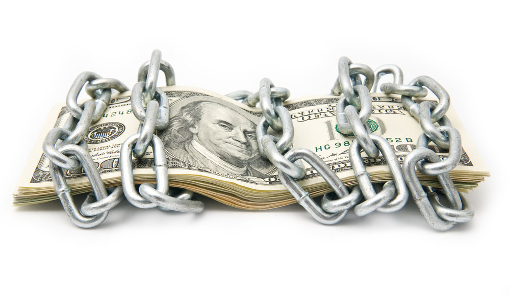 A dollar bill chained.