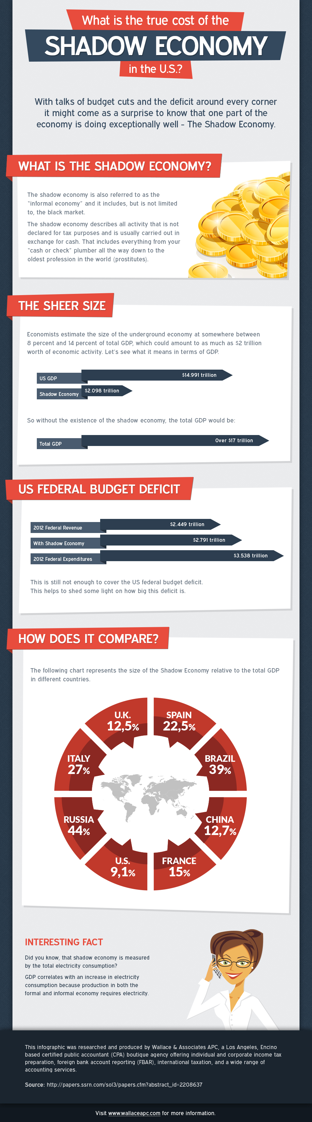 An infographic about the true cost of the shadow economy in the US and whether it would be enough to cover the US budget deficit(spoiler alert: it's not).